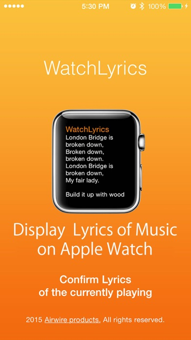 WatchLyrics - Display Song Lyrics for Apple Watch screenshot one