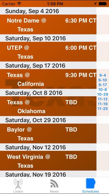 Texas Football - Sports Radio, Scores & Schedule screenshot-3