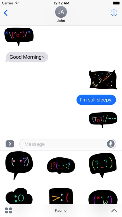 Kaomoji - Black Doodle Japanese Emoji Stickers screenshot-1