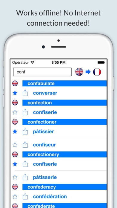 Offline English French Dictionary (Dictionnaire) screenshot one