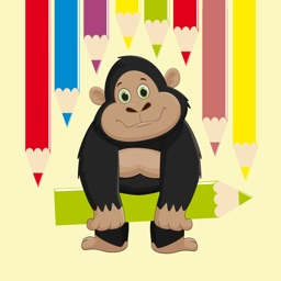 Party Gorilla and Monkey Coloring Book