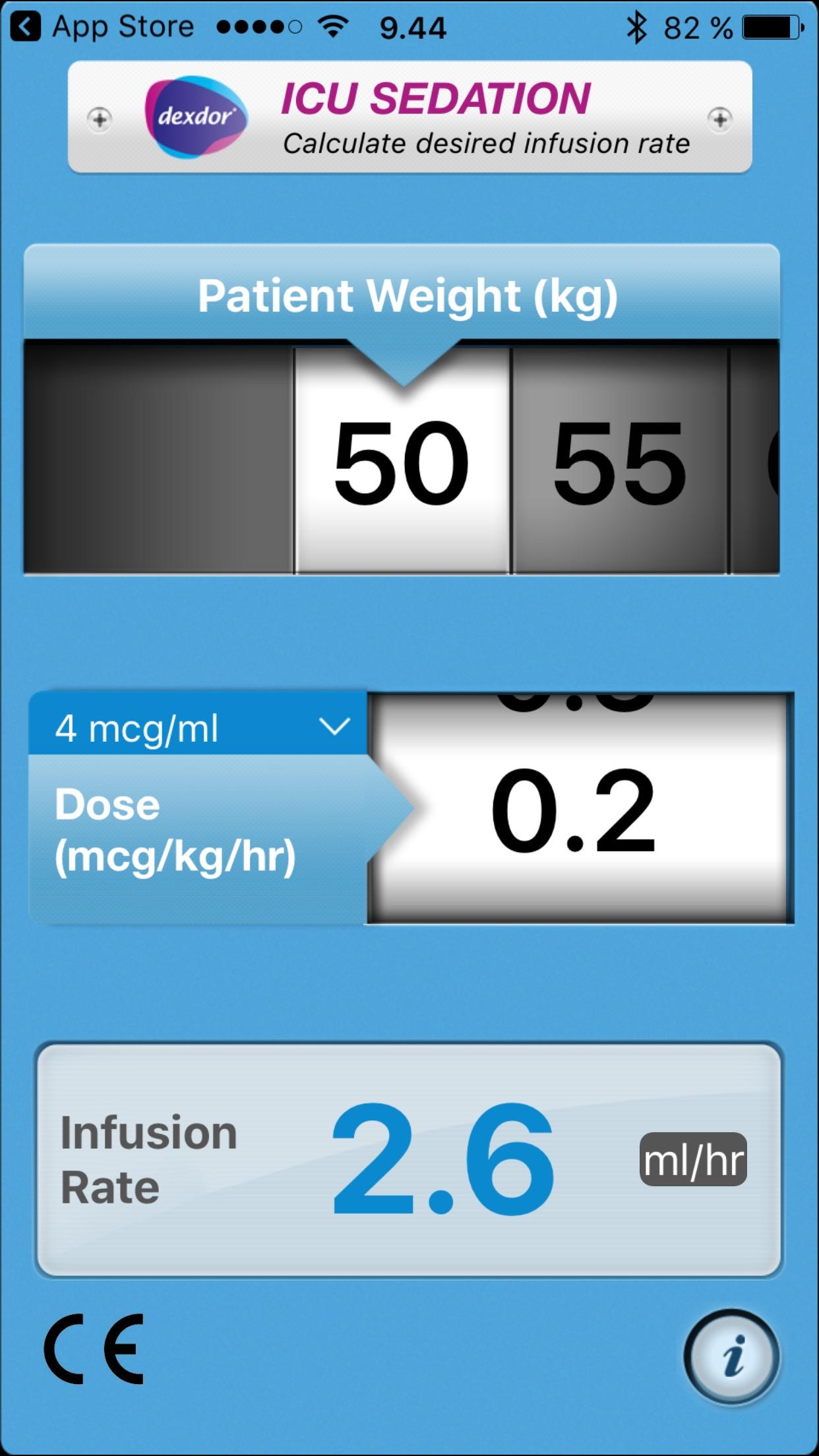 Dexdor Dosing Calculator for iPad Screenshot