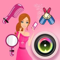 Girl Sticker Camera - photo collage editor