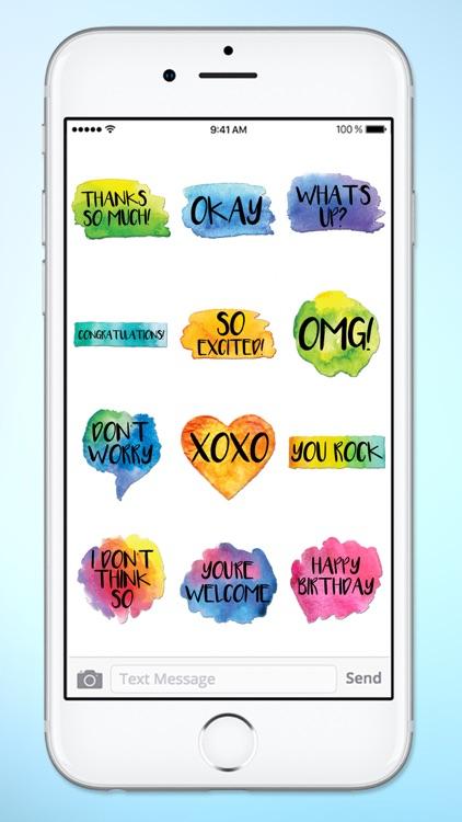 Watercolor Words Text Sticker Pack screenshot-3