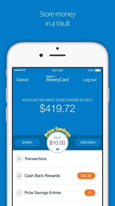 Walmart MoneyCard Screenshot