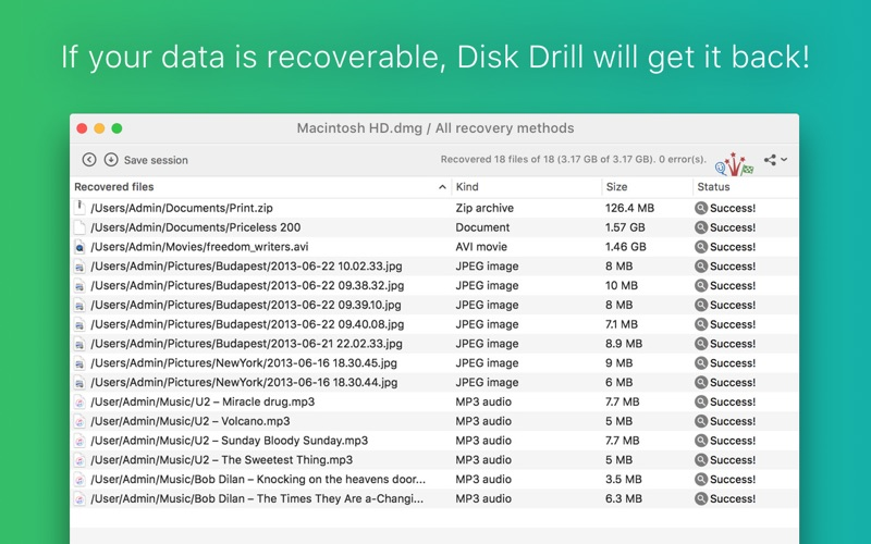 Disk Drill Media Recovery Screenshot