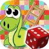 蛇和梯子经典骰子游戏1 - 2玩家的孩子和成人