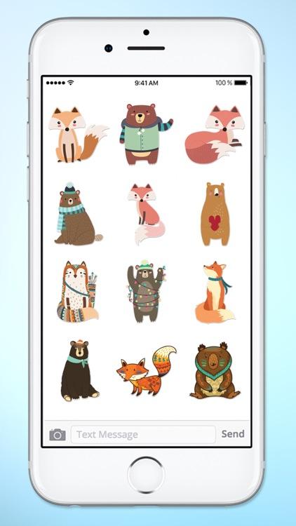 Cute Bear and Fox Animal Sticker Pack screenshot-4