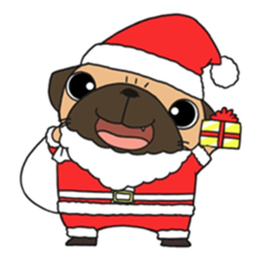 Pug The Santa Claus Stickers
