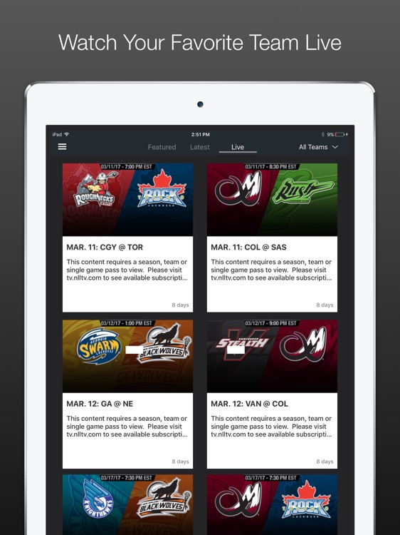 NLL TV | Live Professional Lacrosse Video for iPad