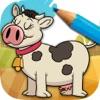 学习游戏,让儿童漆农场动物与你的手指