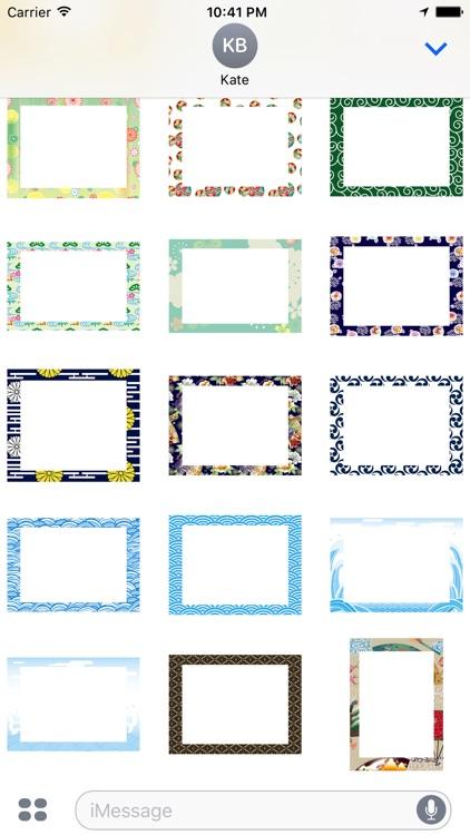 Japanese pattern frame sticker screenshot-3
