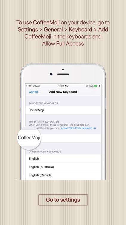 CoffeeMoji - coffee stickers & emoji keyboard app screenshot-3