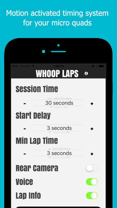 Whoop Laps - Motion activated lap timing system screenshot one