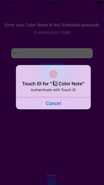 Hidden HotSchedules & Color Note with FingerPrint