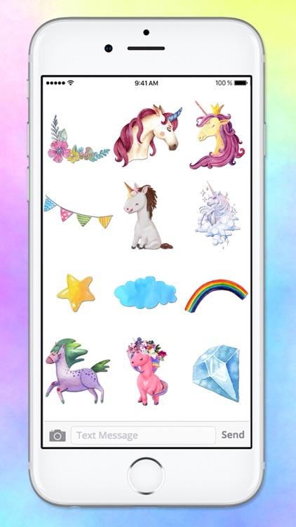 Watercolor Unicorn Sticker Pack screenshot-3