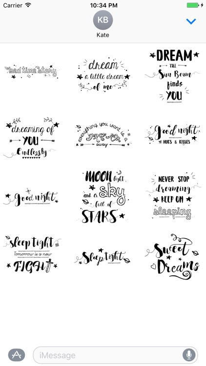 Good Night Typography Stickers for iMessage screenshot-1