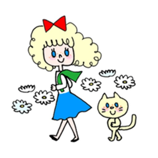 Blonde Curly Girl And Her Cat Stickers