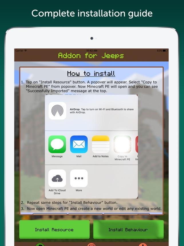AddOn For Jeeps For Minecraft PE On The App Store - Minecraft spiele installieren