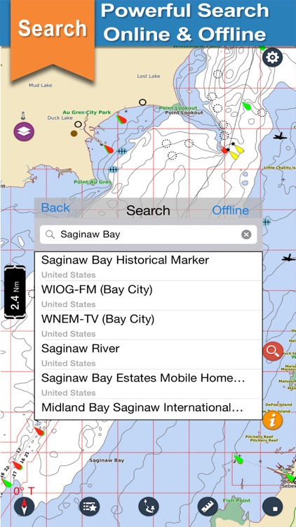 Saginaw Bay GPS offline nautical chart for boaters screenshot-3