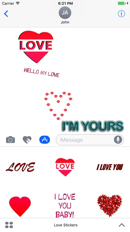 Love Stickers for iMessage, Animated Hearts, Text