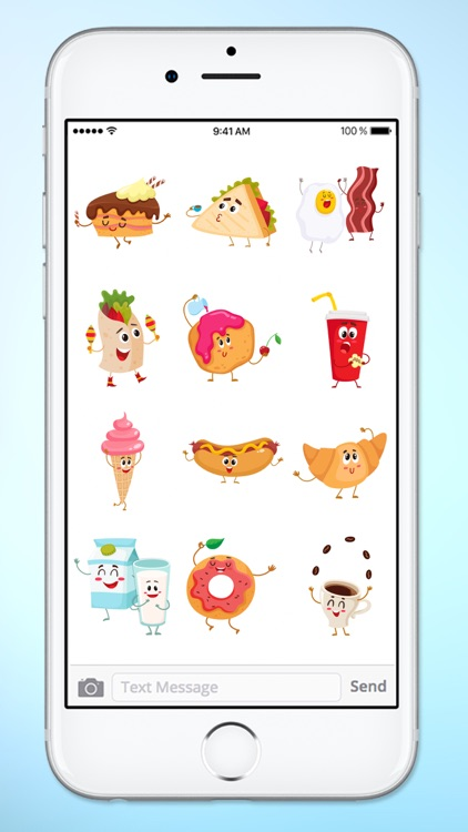 Fun Breakfast and Lunch Food Sticker Pack screenshot-3