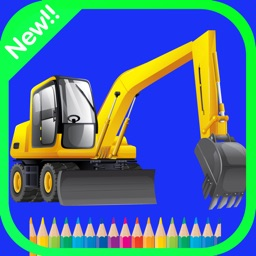 Vehicles Construction Coloring book game For kids