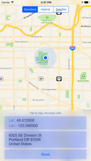 Where Am I? Send location + lat/long on the App Store