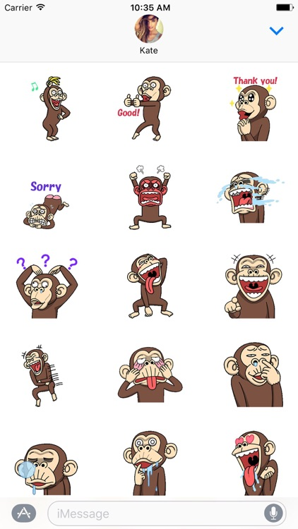 Crazy Funky Monkey Animated Stickers