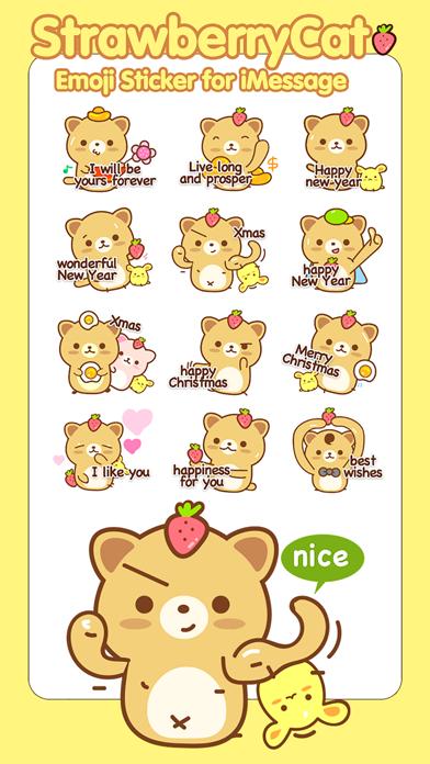 Strawberry Cat ストロベリーキャット ステッカー絵文字のスクリーンショット2