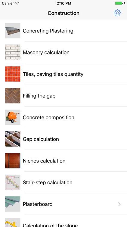 CONSTRUCTION calculations