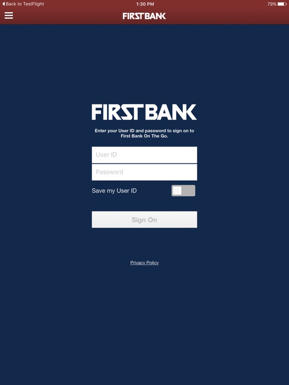 First Bank On The Go for iPad
