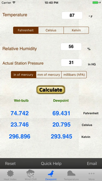 Weather Calc & Conv Temp,Solar,Pressure,Altimeter