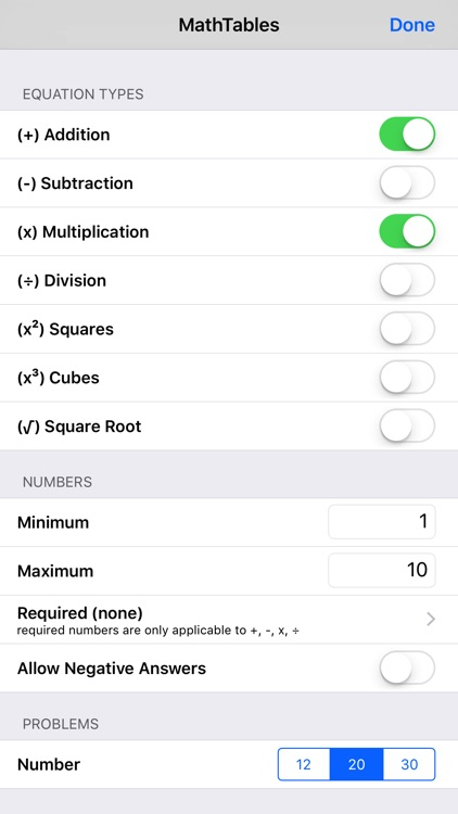 MathTables by PalaSoftware