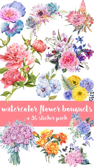 Watercolor Flower Bouquets Sticker Pack On The App Store