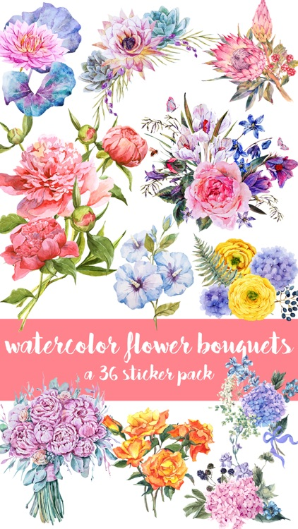 Watercolor Flower Bouquets Sticker Pack by Veritas Design Group