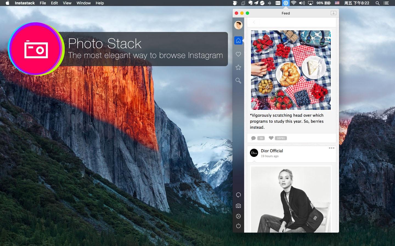 Screenshot do app PhotoStack for Instagram