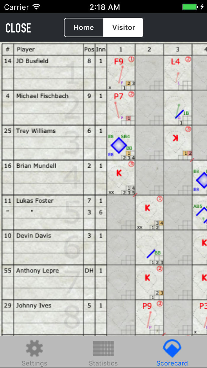 iScore Baseball and Softball Screenshot