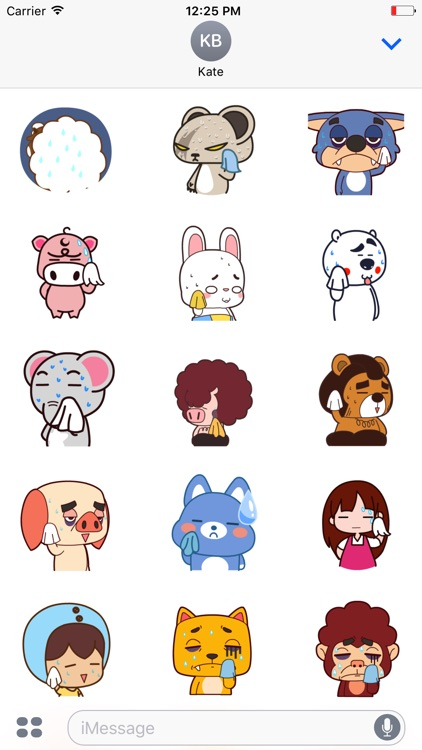 Animated Wiping Cartoon Stickers For iMessage