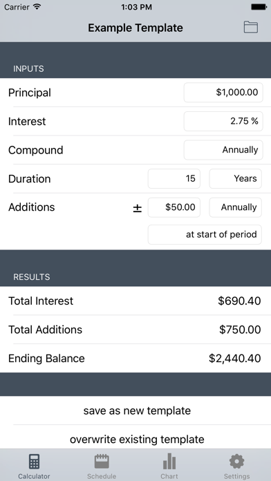Cic - Compound Interest Calculator screenshot one