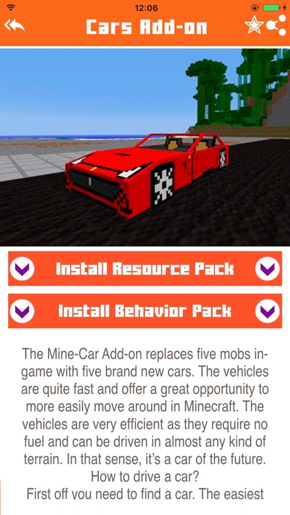 Cars Addons Maps for Minecraft - Pocket Edition PE screenshot-1