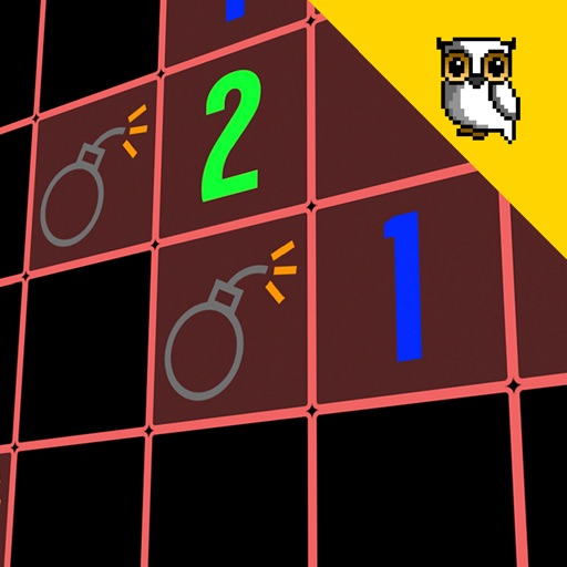 Minesweeper - classic arcade game neon face