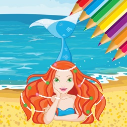 Mermaid Sea Animals Coloring Book Drawing for kids