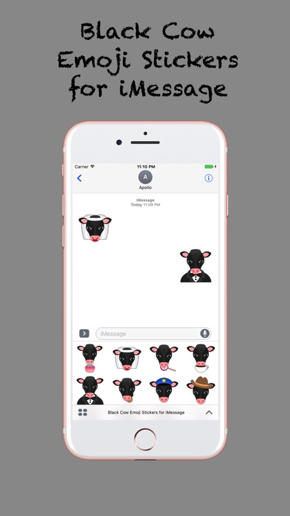 Black Cow Emoji Stickers for iMessage