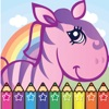 Coloring Cartoon Book Pony and Zoo