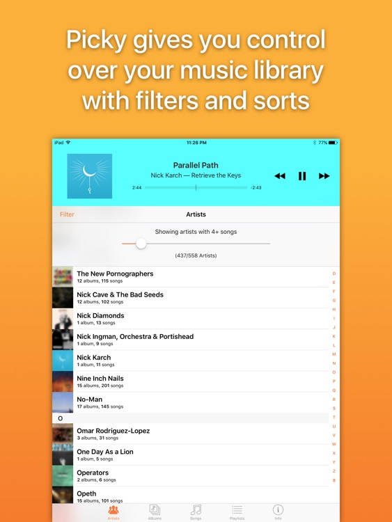 Picky Music Player for iPad