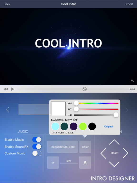 Intro Designer Lite - Create Intros for iMovie screenshot