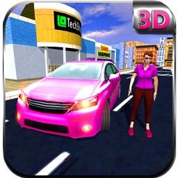 Pink Taxi Girl Driver & Modern Car Rush Games