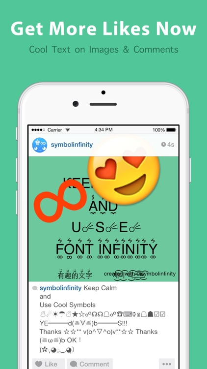 Symbol Infinity ∞ Keyboard for Emoji, Text Symbols screenshot-4