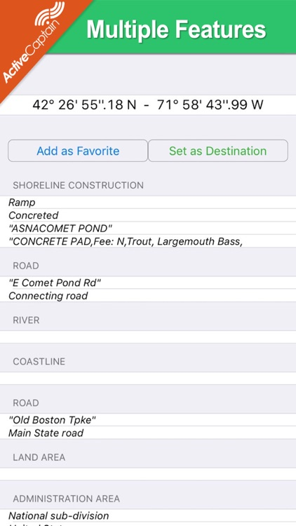 Massachusetts lakes chart GPS fishing Navigator